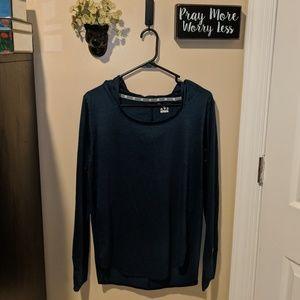 Navy blue Long Sleeve Hooded Shirt